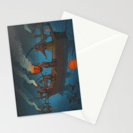 Beautiful Vintage Japanese Woodblock Print Japanese Fisherman Flame Torch Stationery Cards