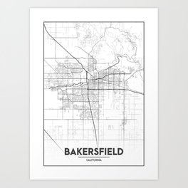 """Minimal City Maps - Map Of Bakersfield, California, United States Art Print"