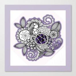 Pretty in Purple Zentangle Design Illustration Canvas Print
