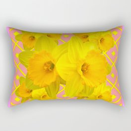 Pink Color Gold Daffodils on Coral Abstract Rectangular Pillow
