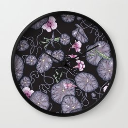 Black Indian cress garden. Wall Clock