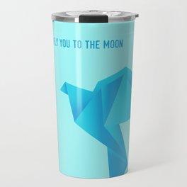 Fly Me to the Moon - Origami Blue Bird Travel Mug