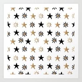 Gold and Black Stars on White Background Art Print