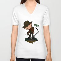 freddy krueger V-neck T-shirts featuring Freddy Krueger Cartoon by BJ Sizemore