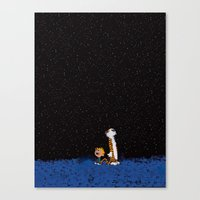 hobbes Canvas Prints featuring Calvin & Hobbes by rarcomeus