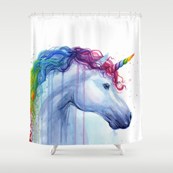 Magical Rainbow Unicorn Shower Curtain By Olechka
