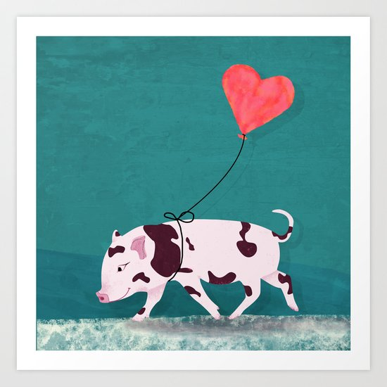 Baby Pig With Heart Balloon Art Print