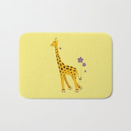 Yellow Funny Roller Skating Giraffe Bath Mat