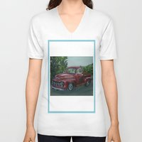 truck V-neck T-shirts featuring Pickup truck by spiderdave7