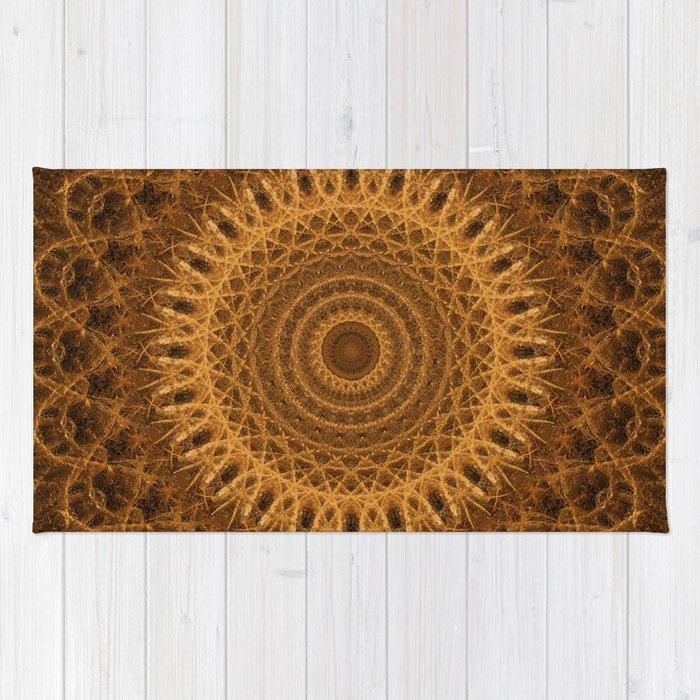 Mandala in golden and brown tones Rug
