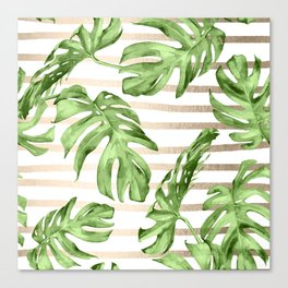 Simply Tropical White Gold Sands Stripes and Palm Leaves Canvas Print