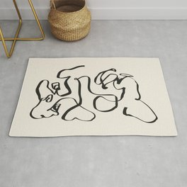 Abstract line frenchie Rug