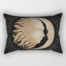 Face in sun and moon hand drawing vintage engraving money line detail style Rectangular Pillow
