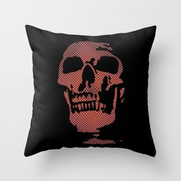 Red Optical Skull Throw Pillow