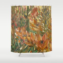 Floral orange print Shower Curtain