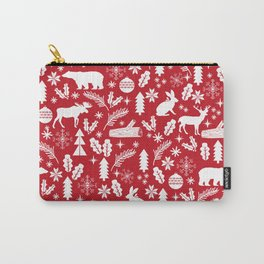 Festive Christmas woodland reindeer moose bear camping red and white minimal pattern for holidays Carry-All Pouch