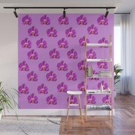 Purple Butterfly Orchids Patterns Golden Art Wall Mural