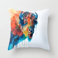 bison Throw Pillows featuring Bison by Slaveika Aladjova