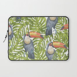 Watercolor Toucan Painting With Tropical Leaves Pattern Laptop Sleeve