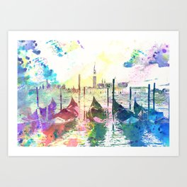 Venezia, gondole - Italy Art Print