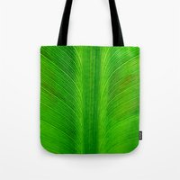 banana leaf Tote Bags featuring Banana Leaf by moo2me