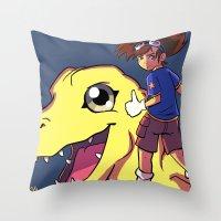 digimon Throw Pillows featuring Digimon by Viga Victoria Gadson