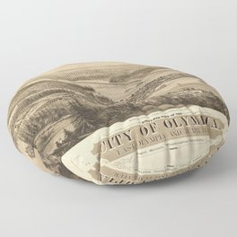 Birdy's Eye View of Olympia, East Olympia and Tumwater, Puget Sound, Washington State (1879) Floor Pillow