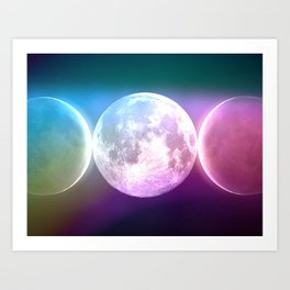 Moon Triple Goddess Rainbow Art Print