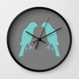 facing finches (color) Wall Clock
