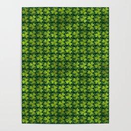 Irish Shamrock -Clover Green Glitter pattern Poster