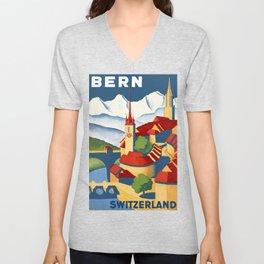 Vintage Bern Switzerland Travel Unisex V-Neck