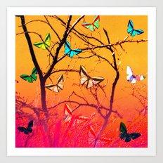 Yellow butterflies Art Print