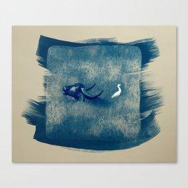 Water Buffalo and Bird Canvas Print