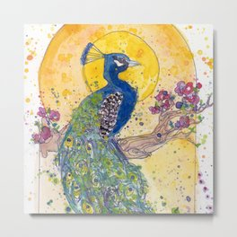 Peacock in the Sun Metal Print