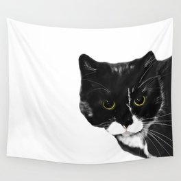Curious Black Cat on White Background  #decor #society6 #buyart Wall Tapestry
