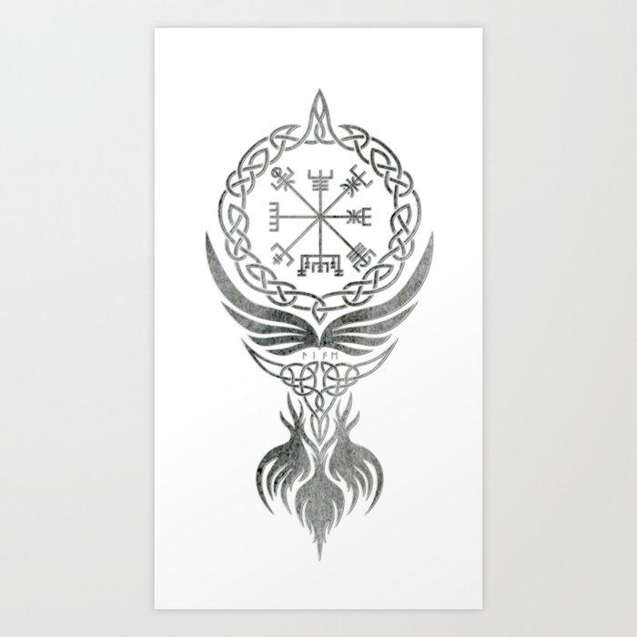 Vegvisir Old Norse Rune Viking mythology Art Print by ...