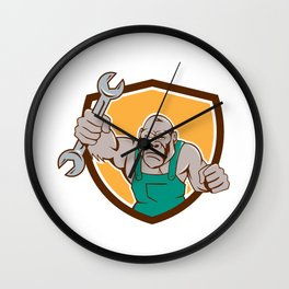 Angry Gorilla Mechanic Spanner Shield Cartoon Wall Clock