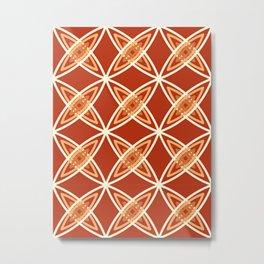 Mid Century Modern Atomic Print, Mandarin Orange Metal Print