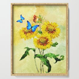 Blue Butterflies on Sunflowers (Color) Serving Tray