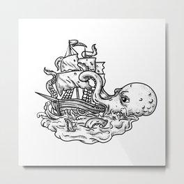 Kraken Attacking Ship Tattoo Grayscale Metal Print