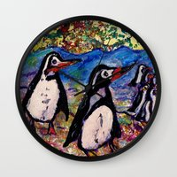 penguins Wall Clocks featuring Penguins by gretzky