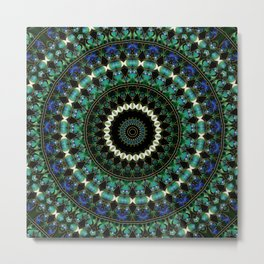 Green Citrine Beaded Mandala Metal Print
