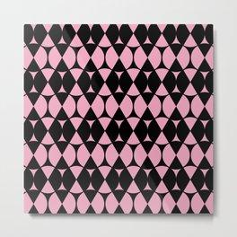 Classic Wheel and Diamond Futurist Pattern 215 Black and Pink Metal Print