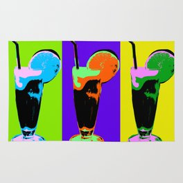 Poster with orange coctail in pop art style Rug