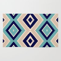 navajo Area & Throw Rugs featuring navajo blue by spinL