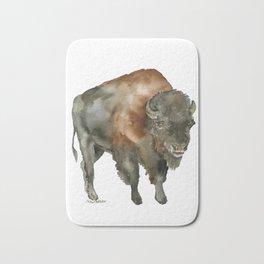 American Bison 2 Watercolor Painting Bath Mat
