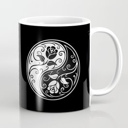 Black and White Yin Yang Roses Coffee Mug