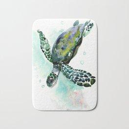 Sea Turtle, underwater scene,  green turquoise beach house design Bath Mat