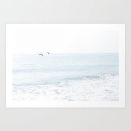 Seagulls Over the Ocean Art Print