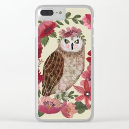 Floral Owl Clear iPhone Case